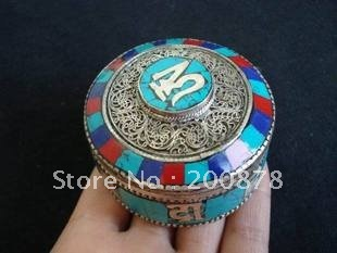 TJB951 Tibetan silver jewelry box,56*34mm,Nepal handmade jewelry,colorful jewel case,gift for girl
