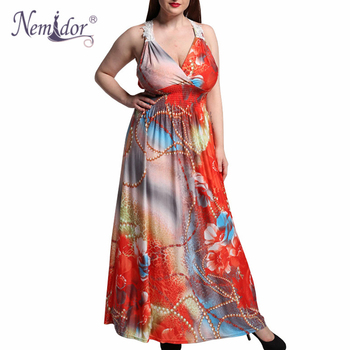 Women Casual V-neck Patchwork Print Stretchy Dress Loose Sleeveless Plus Size 6XL 7XL Maxi Dress