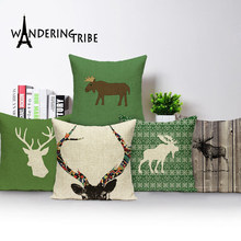 Christmas Elk Printing Pillow Case Square Deer Sofa Bed Flax Pillow Cover moose Cushion Covers scandinavian Decoration sofa