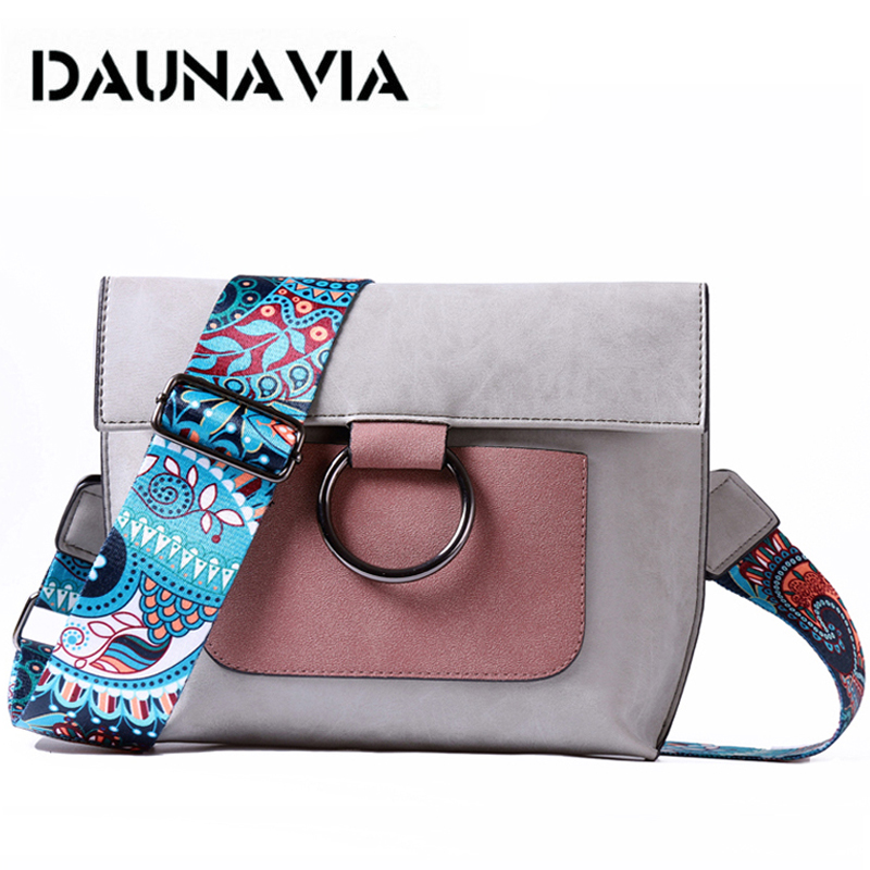 DAUNAVIA brand Fashion Women bag with Colorful strap women famous designer leather Shoulder bags women messenger crossbody bags 2017 national embroidery bags women leather shoulder bag lady college crossbody bag colorful strap girls messenger bags school