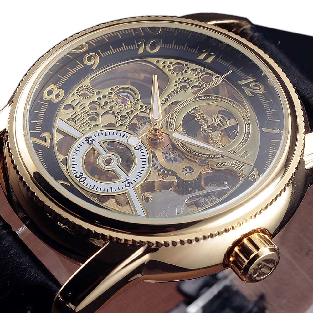 2017 Forsining Hollow Engraving Skeleton Casual Designer Black Golden Case Gear Bezel Watches Men Luxury Brand Automatic Watches forsining 3d skeleton twisting design golden movement inside transparent case mens watches top brand luxury automatic watches