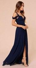 Sommer Strand Marineblau Chiffon Lange Prom Abendkleider Sleeveless mit Spaghetti vestido de festa