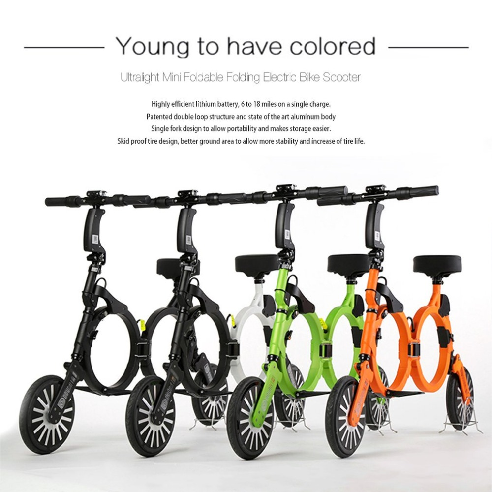 Ultralight Foldable Backpack E-bike Folding Electric Bike Scooter 2 Wheel Mini Smart Motor Skate Rechargeable Electric Bicycle купить