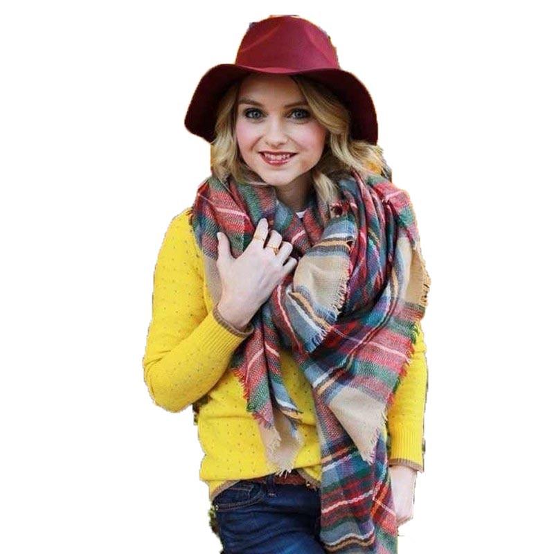 Womens Scarfs Fashionable Plaid Check Scarf Women Ladies Winter Blanket Scarf Oversized Shawl font b Tartan