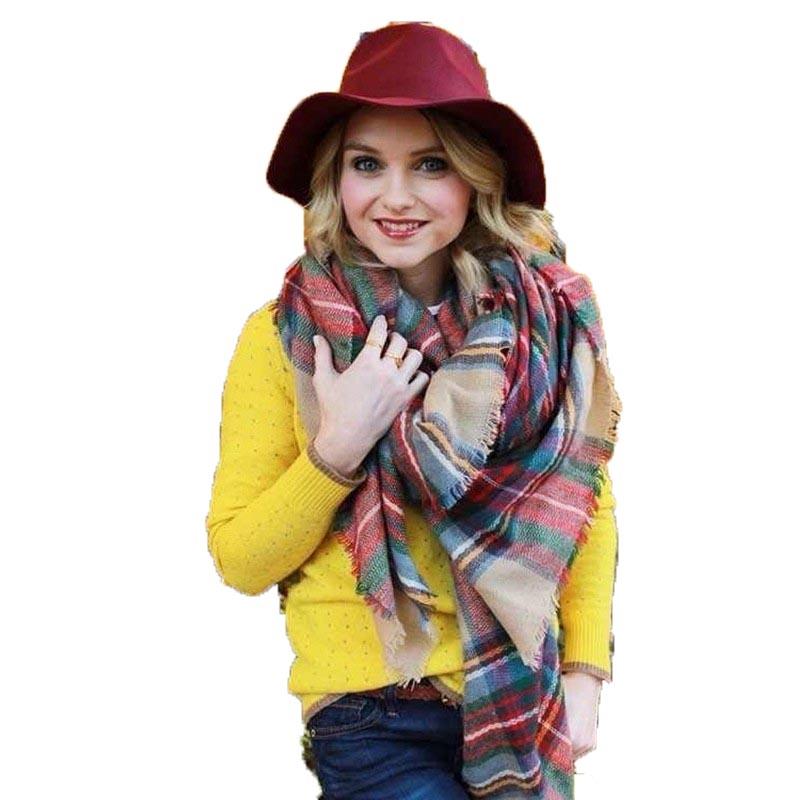 Womens Scarfs Fashionable Plaid Scarf Shawls And Scarves Winter Blanket Oversized font b Tartan b font