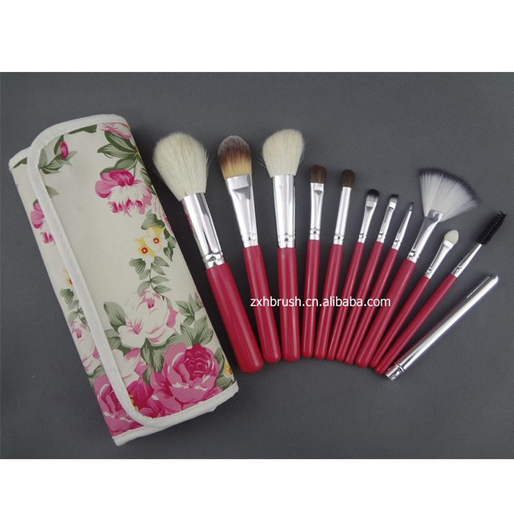 Professional 12Pcs Wool  Makeup Brushes Set Eye Shadow Powder Blush Foundation Cosmetic Brush Set With Bottle