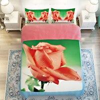 Koral Kolorowe Rose 3D Floral Pościel Ustawia Twin Królowa Król rozmiar Miękka Tkanina Poliestrowa Kołdrę Pościel Tekstylia Sypialnia zestaw