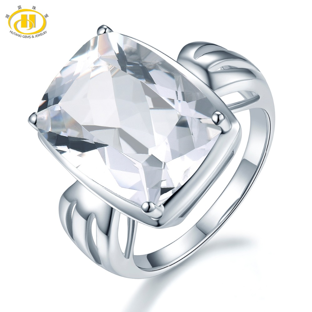 Hutang 14ct Natural White Topaz Rings Gemstone 925 Sterling Silver Ring for Women Fashion Style Party