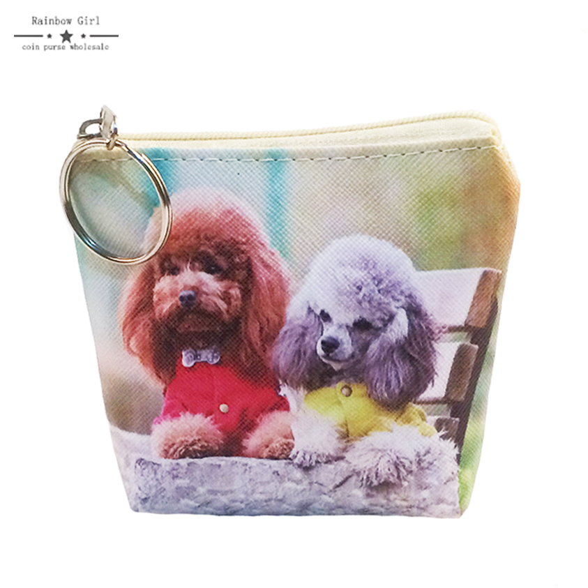 2017 Women Lovely Dog Coin Purses Wallet for children Mini Bag Key Ring Zipper Wallet Pouch Change Purse wholesale Coin-holder
