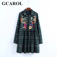 GCAROL British Style Women Embroidery Floral Plaid Dress High Waist Vintage Green Classic Mini Dress Autumn