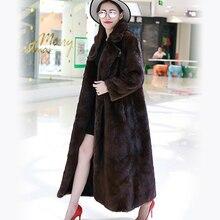 Nerazzurri Women Faux Fur Coat Winter Long Sleeve High Quality Luxury Oversized Thicken Warm Fluffy Extra Long Mink fur Overcoat