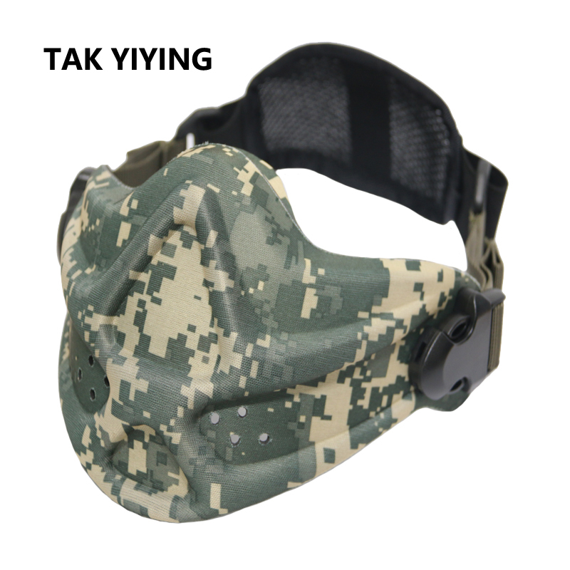 TAK YIYING Tactical Military Airsoft CS Outdoor Half Face Protective Mouth Mask Halloween Face Mask Hunting Accessories