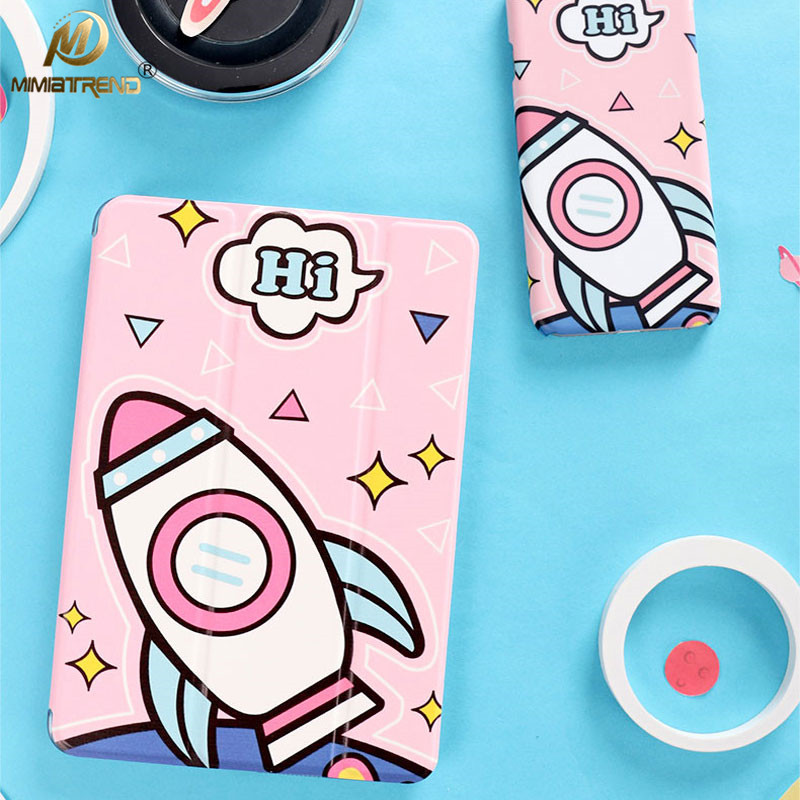 Mimiatrend  Pink Rocket PU Case for 2017 iPad Pro 9.7 Air Air2 Mini 1 2 3 4 5 Tablet Case Shell + Screen Protector + Phone Case