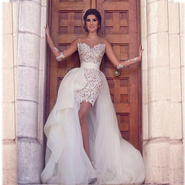 014b48c7e11 Sexy Sheer Long Sleeve Lace Rainbow Beach Wedding Dresses 2016 Robe Mariage  Dentelle Vestidos De Novia Zipper Court Train dress