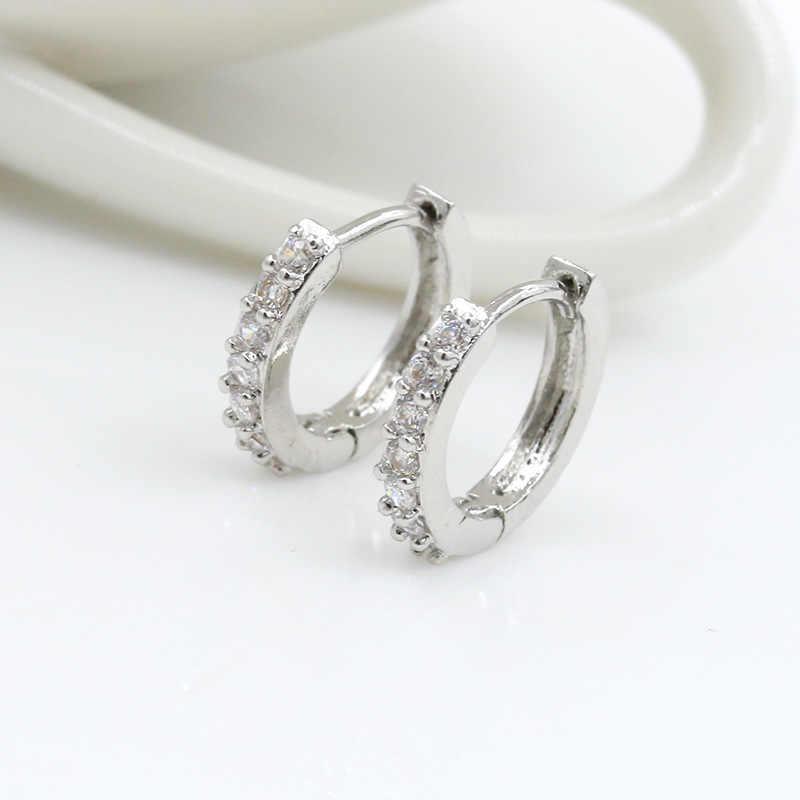 efac08b9ee Crystal Hoop Earring Small Circle Huggie Earrings Silver Cubic Zircon  Rhinestone Round Loop Charm Women Men Fashion Ear Jewelry