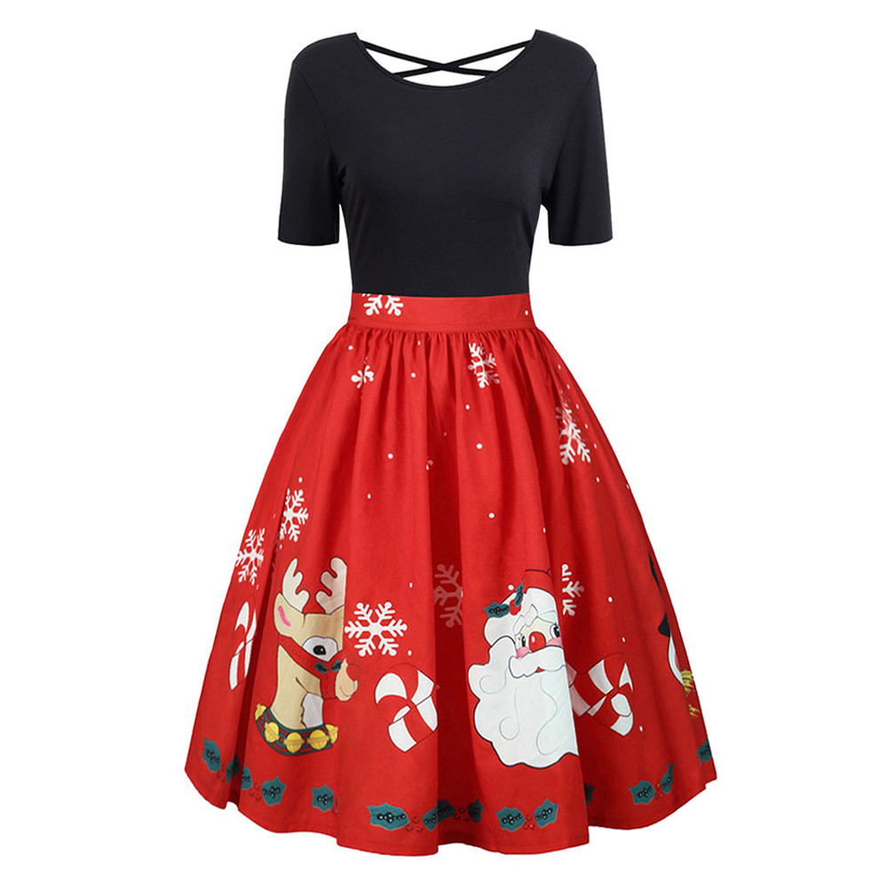 2018 Newly Arrival leisure Style Fashion Womens Casual Festival Plus Size Christmas Print Gown Evening Party Hollow Out Dress