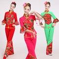 Roupas de Palco de Dança Yangko Dança Trajes Mulheres 3XL Chinês Tradicional Vermelho Feminino Nacional Ventilador Dançarino Traje Desgaste 16