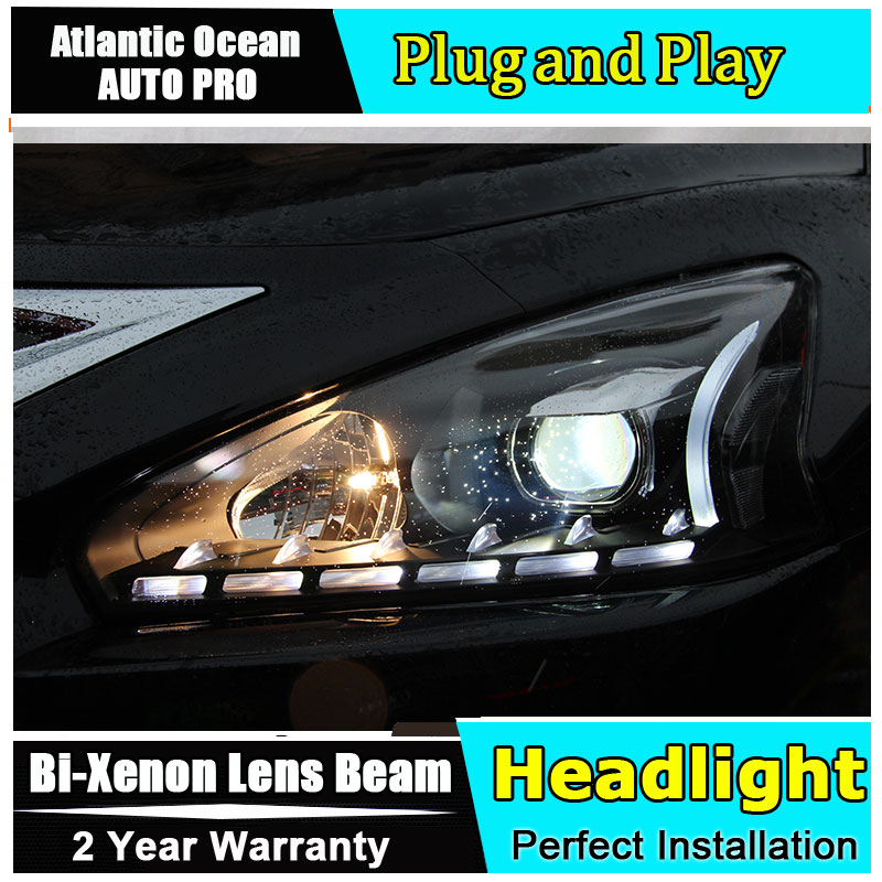 Auto.Pro Car Styling for Nissan Teana LED Headlight 2013-2015 New Altima Lens Double Beam HID KIT Xenon bi xenon lens hireno headlamp for 2013 2015 nissan tiida headlight assembly led drl angel lens double beam hid xenon 2pcs