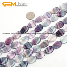 Gem-inside Natural Flat Drop Oval Shape Fluorite Stone Beads