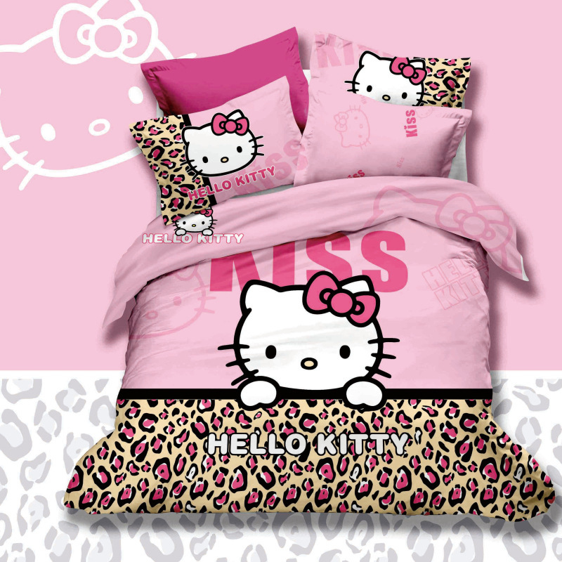3d Queen Size 4pcs Character Pink Leopard Skin Hello Kitty