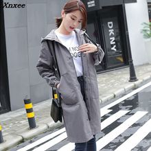2018 Autumn New Fashion Woman Trench Coat Long Slim Casual Waterproof Raincoat Hooded Outerwear Plus Size Xnxee