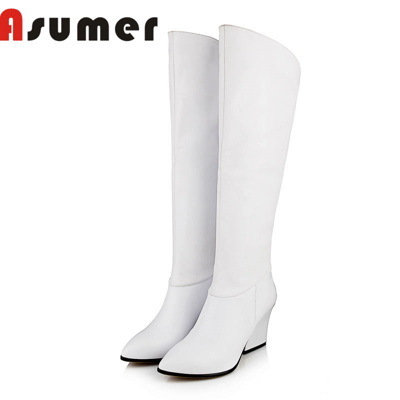 ASUMER NEW ARRIVE 2018 pointed toe zip knee high boots solid daily simple high heels boots thick heels pu+genuine leather boots цены