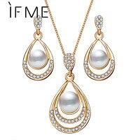 39d306ccaeda Si ME de oro de moda Color gota de agua simulado collar de perlas de cristal