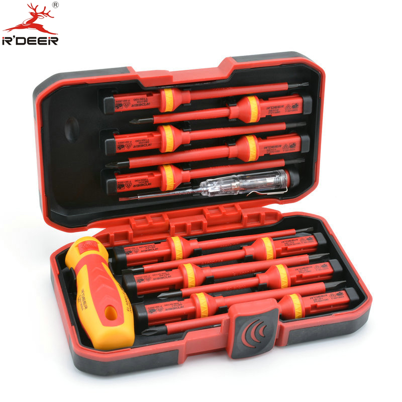 13 Pcs VED Insulated Screwdriver Set CR-V High Voltage 1000V Magnetic Phillips Slotted Torx Screwdriver Durable Hand Tools 9 pcs cross head flat head slotted tip screwdriver set magnetic phillips slotted plastic handle convenient bag repair tools