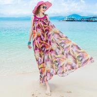 Womens Summer Long Beach Dresses Boho Ladies New Style Fashion Multicolor Floral Print Sleeveless Maxi Dress