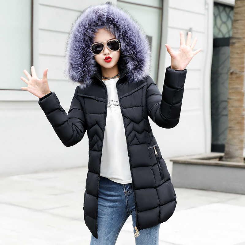 32e1255f6c2 2018 Новые Длинные парки женские зимние пальто женские с искусственным  меховым воротником Зимние ...