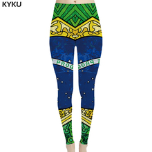 KYKU Brand Brazilian Flag Leggings Women Star Trousers Green Leggins Colorful Sport 3d Print  Sexy Womens Pants