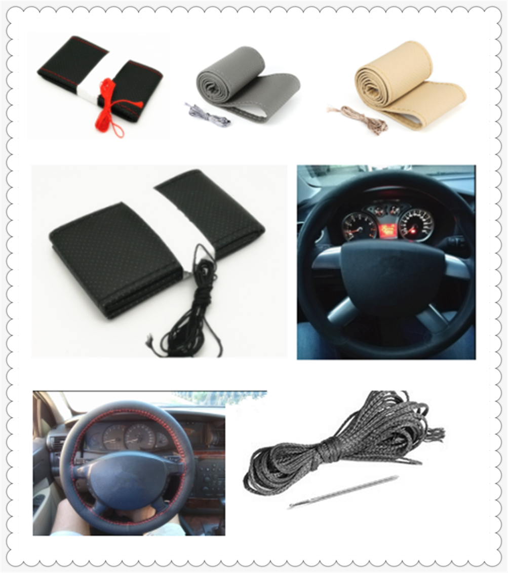 Auto Parts Soft Fiber Leather Braided Steering Wheel Cover