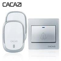 CACAZI AC110 220V Wireless Doorbell Waterproof 1 Button 2 Plug In Receivers 300M Remote Door Bell