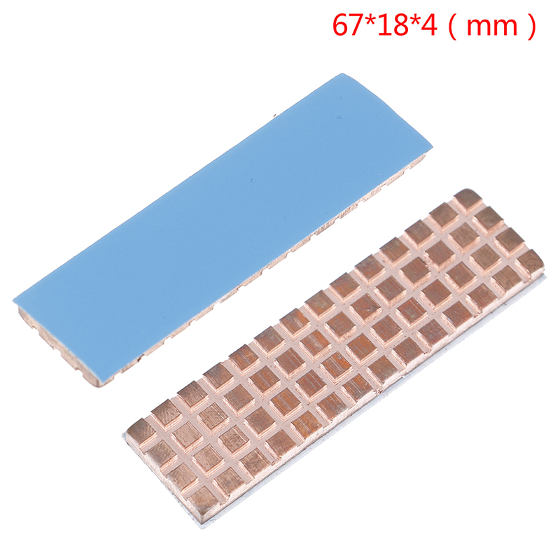 Copper Heatsink Cooler Heat Sink Thermal Conductive Adhesive For M.2 NGFF 2280 PCI-E NVME SSD 67*18mm Thickness 4mm