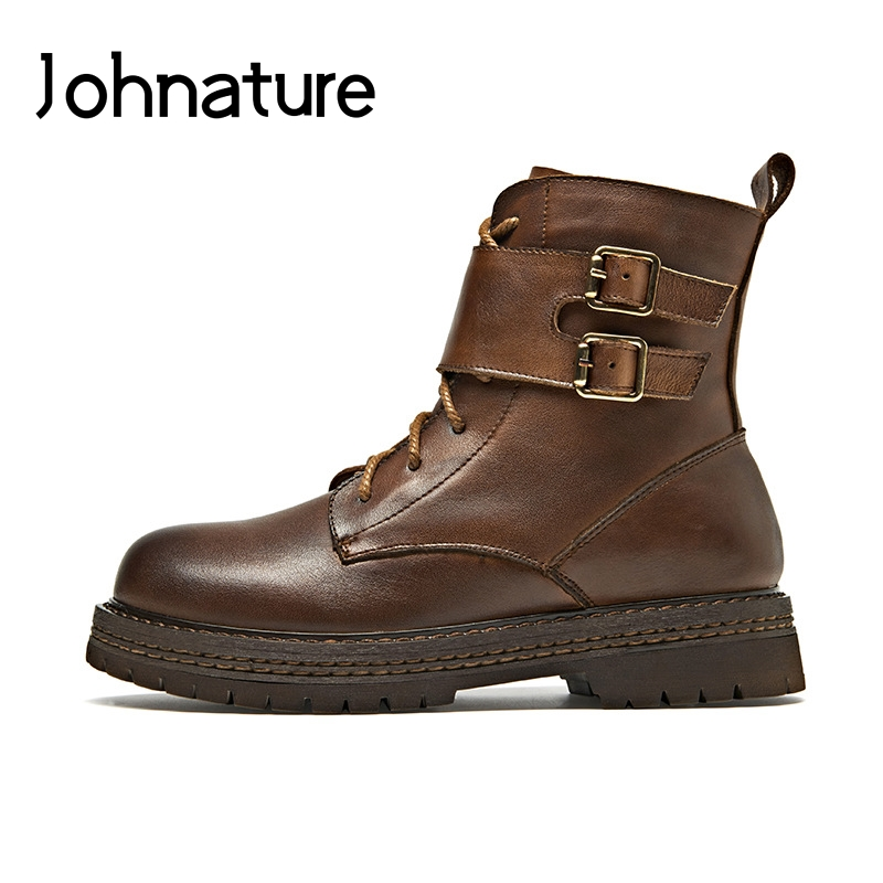 Johnature 2019 New Autumn Winter Genuine Leather Round Toe Casual Buckle Strap Martin Boots Ankle Platform