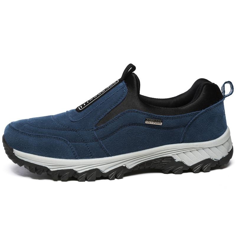 Moda Homens Pele gray Tornozelo Rebanho Inverno De Caminhadas Botas Sapatos Livre Quente Dos Black Ar Casuais blue Ao botas wIgCSn