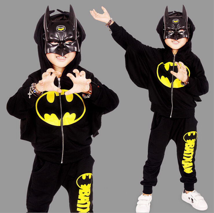 2017 New Children Outfits Tracksuit Batman Clothing Children Hoodies Tops+Kids Pants 2pcs Boys Sport Suit Baby Boys Clothing Set