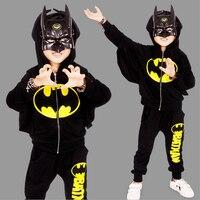 2017 New Children Outfits Tracksuit Batman Clothing Children Hoodies Tops Kids Pants 2pcs Boys Sport Suit