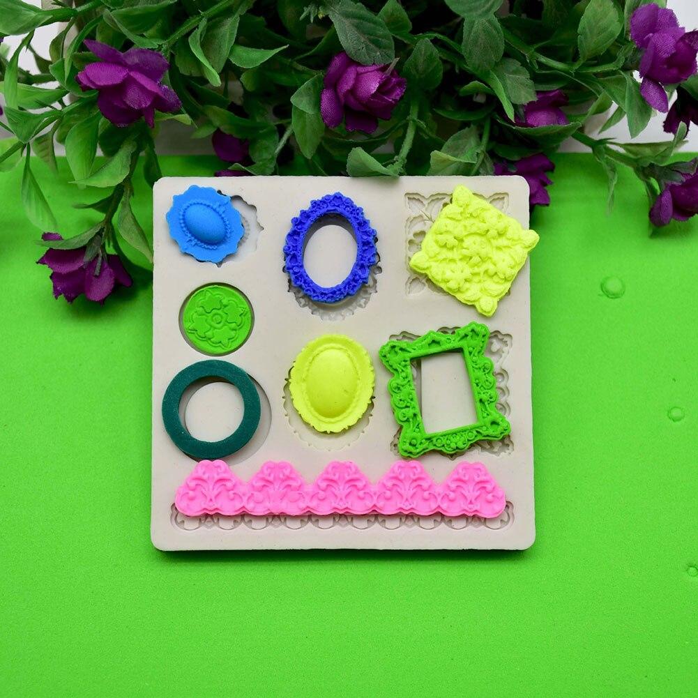 Baking Tool Cake Mold Gemstone Frame Mould Bakeware Bar Handmade Healthy DIY Photo Mirror Frame