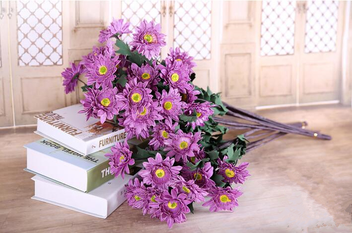 Country style flower bouquets, 9cm big Chrysanthemum flower , 10 ...