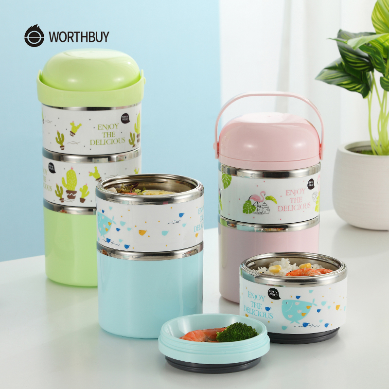 WORTHBUY Cartoon Japanese Lunch Box Portable Stainless Steel Bento Lunch Box For Kids School Food Container Leak-proof Bento Box