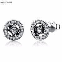 Vintage Woman Fine Jewelry 100 Real 925 Sterling Silver Round Stud Earrings With Zircon Engagement Wedding
