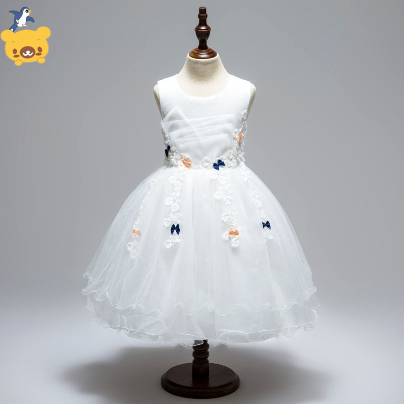 Girl Dresses Princess Children Clothing sleeveless  white pink Party Dress  Baby girl bow  Lace Dresses