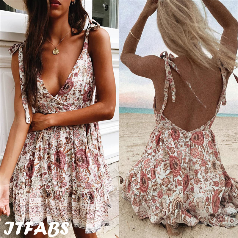Fashion Women Summer Backless Sundress Beach Style Lady Sleeveless Strap Lace-up Printed Dress Flowers V-Neck Pleated Mini Dress