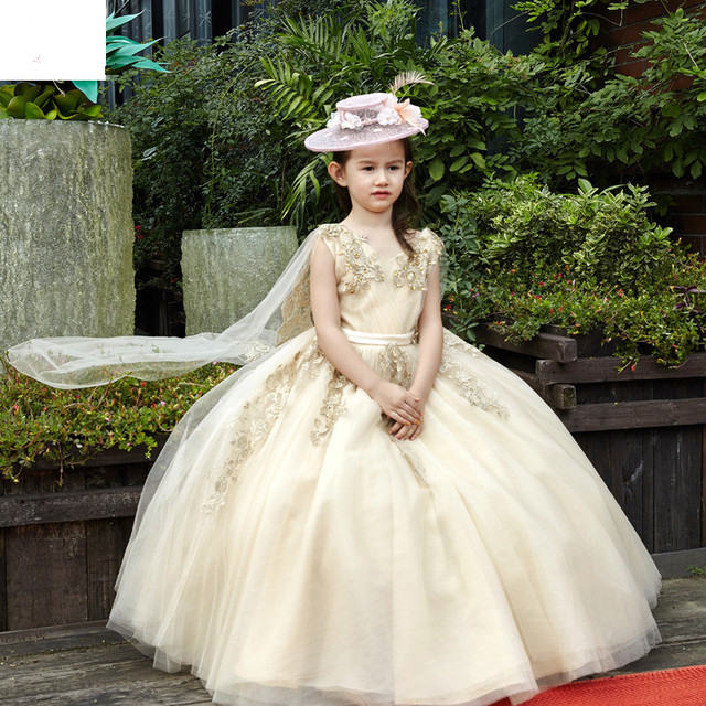 8ecf5107704 Fashion Children Party Gown Luxury Light Gold Appliques with Shawl Long Flower  Girl Dress for Wedding