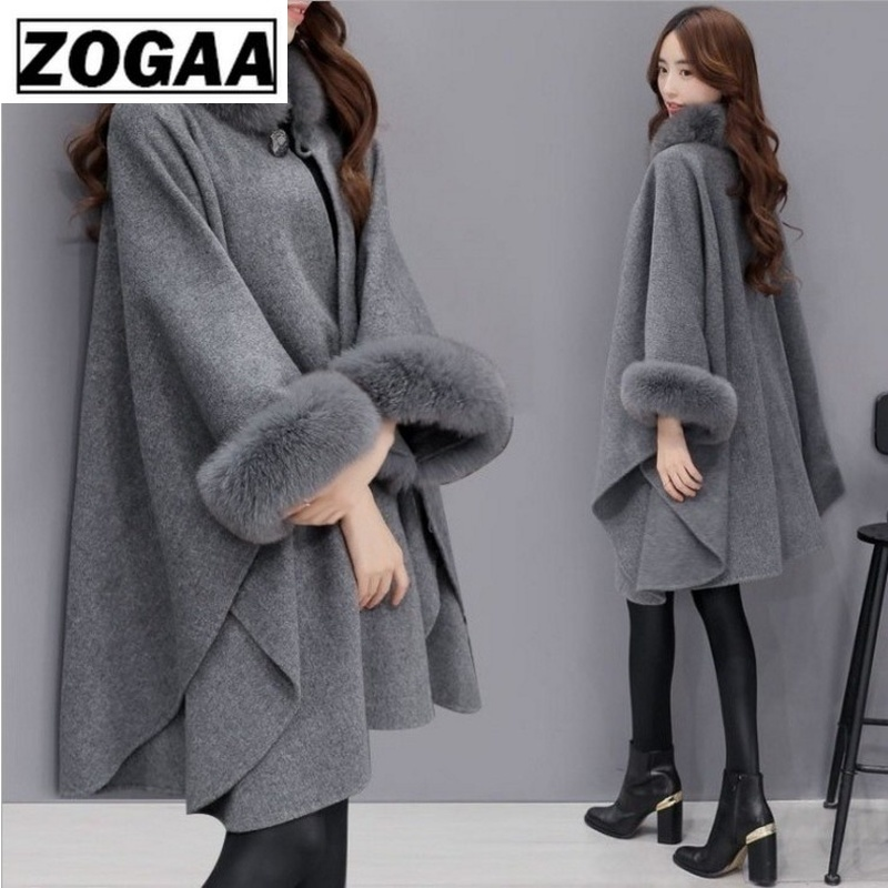 Faux Fur Coat Women Fashion Winter Spring Fur Collar Long Flare Sleeve Coats Female Furry Leather Overcoat Plus Size Long Coat