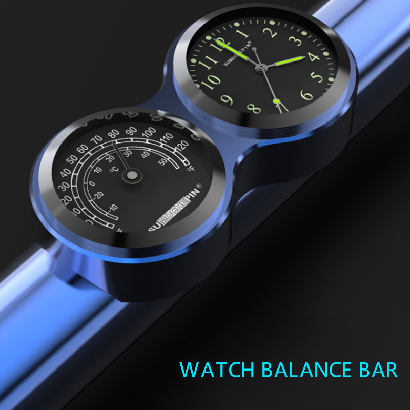 CNC balance bar car waterproof luminous double clock creative personality time thermometer motorcycle modification accessories