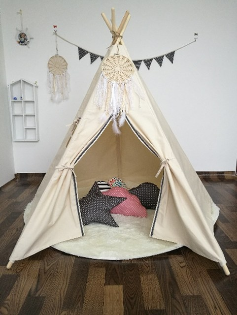 Kids Princess Large Tent Canopy Children Canvas Pretend Play Tipi Net Outdoor Indoor Adult Canopies Home & Kids Princess Large Tent Canopy Children Canvas Pretend Play Tipi ...