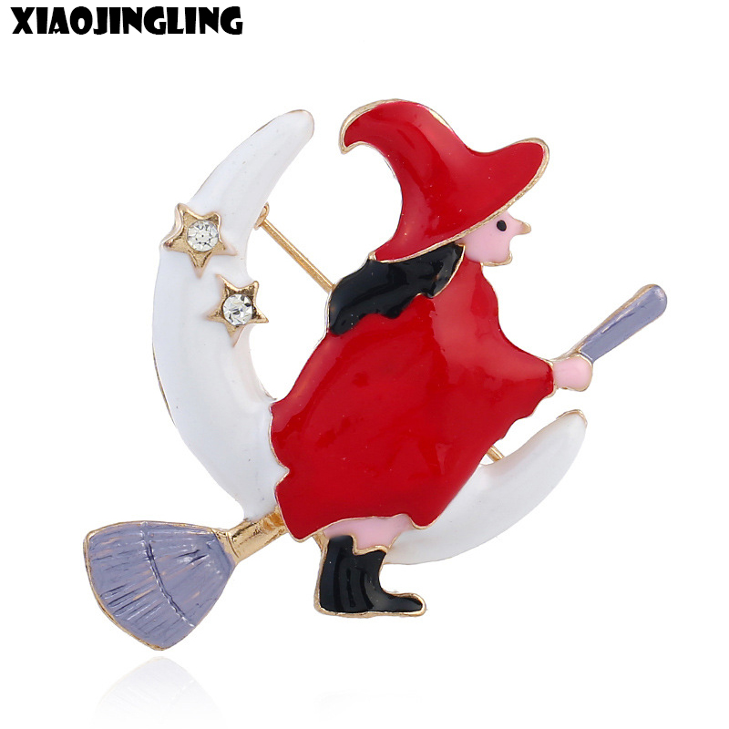 XIAOJINGLING New Fashion Cute Brooch Flying Mop Christmas Witch Brooch Sweater Scarf Brooches For Women Jewelry Christmas Gifts