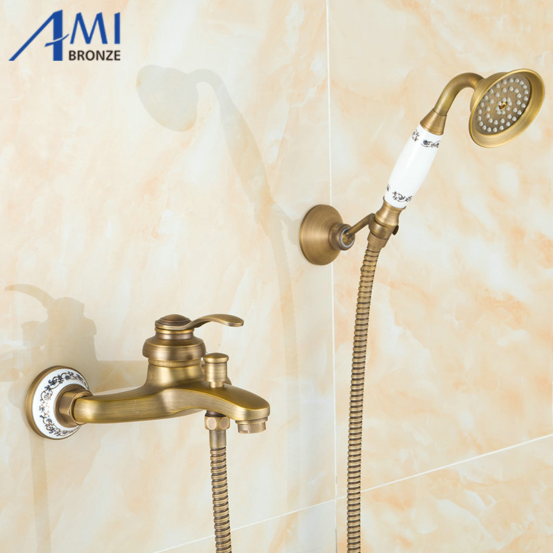 2 Way Wall Mounted Antique Brushed Brass Bath Faucets Bathroom Basin Mixer Tap Ceramic Crane With Hand Shower Head Shower Faucet new modern antique barss shower jet bath single handle tap ceramic w hand shower tap mixer faucet